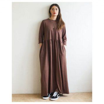 שמלת רוח מקסי חום