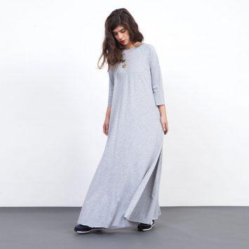 שמלת סווינג מקסי אפור מלאנז'