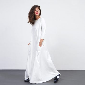 שמלת סווינג מקסי שמנת