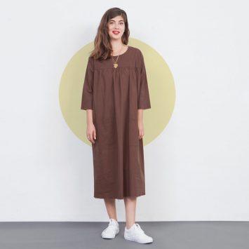 שמלת עבודה חומה