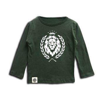 טי שירט שרוול ארוך אריה ירוק צבא בייבי