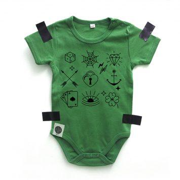 בגד גוף קעקועים ירוק
