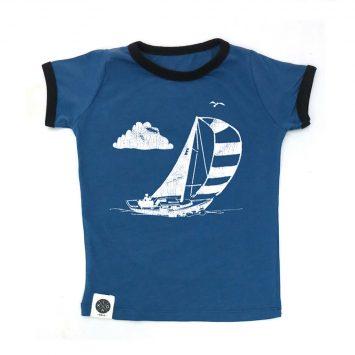טי שירט סירה רטרו כחול