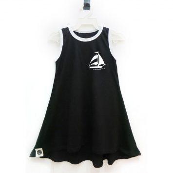 שמלת גופיה מפרשית | שחור
