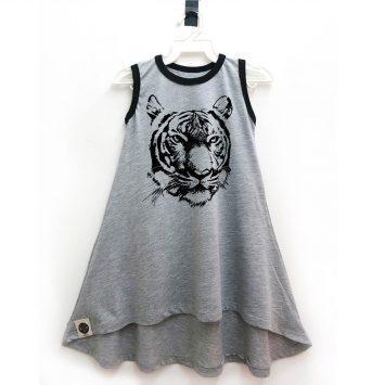 שמלת גופיה נמר | אפור מלאנז'