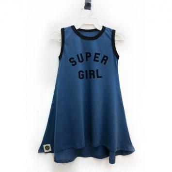 שמלת גופיה SUPER GIRL | כחול ג'ינס