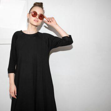 שמלת סווינג 100% כותנה | שחור