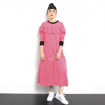 שמלת וולן משובצת | אדום לבן