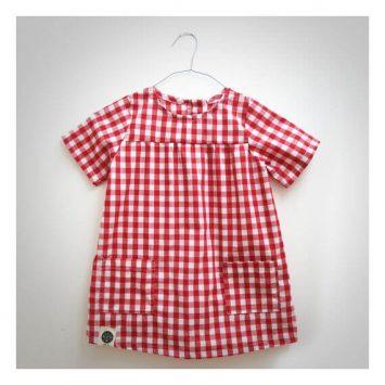 שמלת כיסים משבצות | אדום