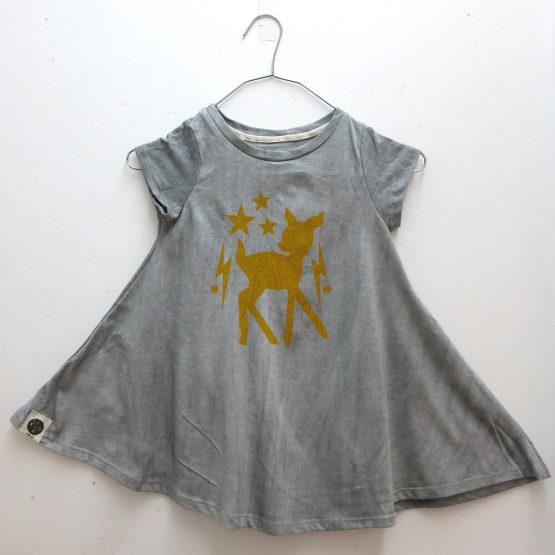 שמלת סווינג סטון ווש | אפור במבי