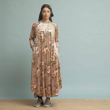 שמלת קטיפה שושנים | בהיר