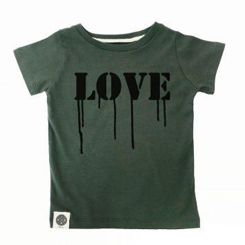 טי LOVE ירוק צבא