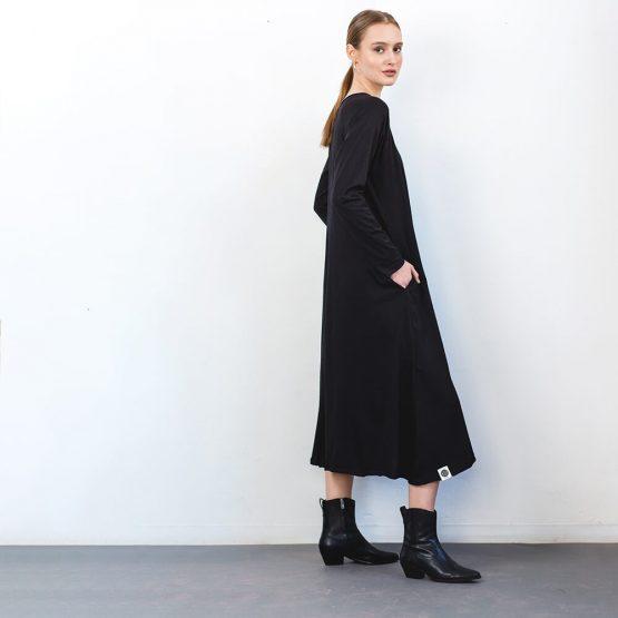שמלת סווינג שחור 100% כותנה