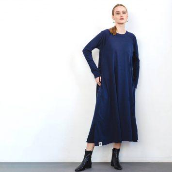 שמלת סווינג כחול נייבי 100% כותנה