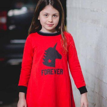 שמלת חורף יוניקורן פוראבר אדומה