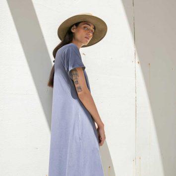 שמלת סווינג מקסי אפור
