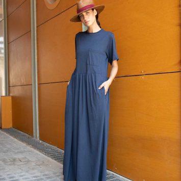 שמלת רוח מקסי כחול נייבי