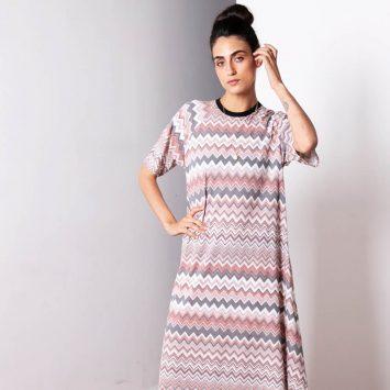 שמלת מקסי זיגזג בגוונים שטופים | ורוד