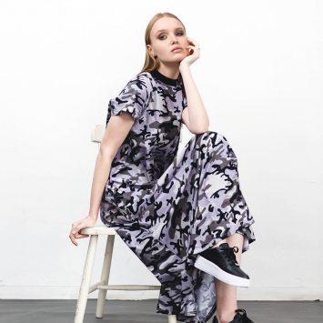 שמלת מקסי קמופלאז׳ אפור