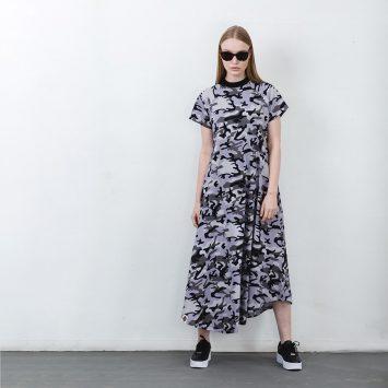 שמלת מקסי קמופלאז' PLUS | אפור
