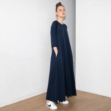 שמלת סווינג מקסי כחול נייבי