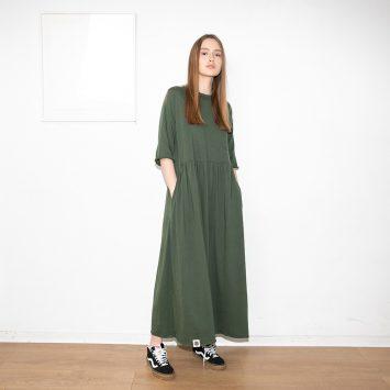 שמלת רוח מקסי ירוק צבא