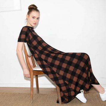 שמלת משבצות חום שחור
