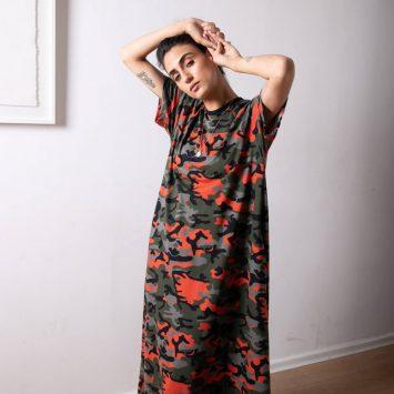 שמלת מקסי קמופלאז׳ כתום