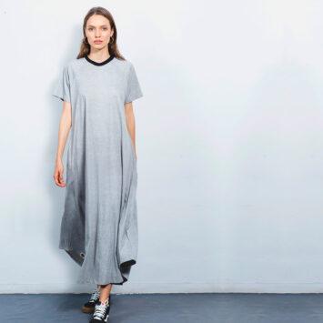 שמלת סטון וואש אפורה