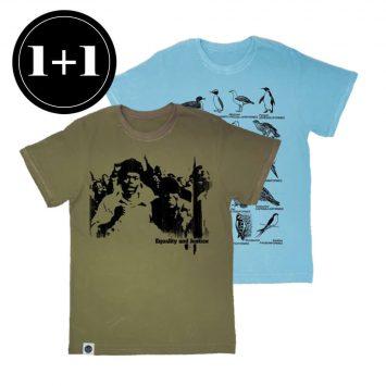 1+1 טי E&J חאקי + טי ציפורים