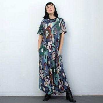 שמלת מקסי גוגן | צבעים קרים