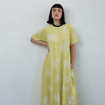 שמלת מקסי צהוב וינטג'