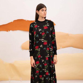 שמלת מקסי פרחי בר שחורה
