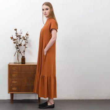 שמלת מקסי נף-נף חום ג'ינג'י