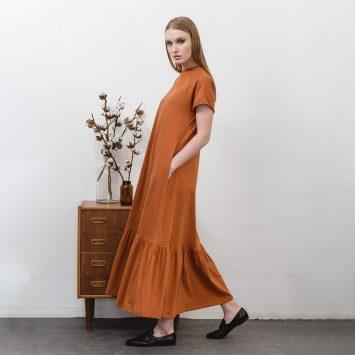 שמלת מקסי נף-נף | חום ג'ינג'י