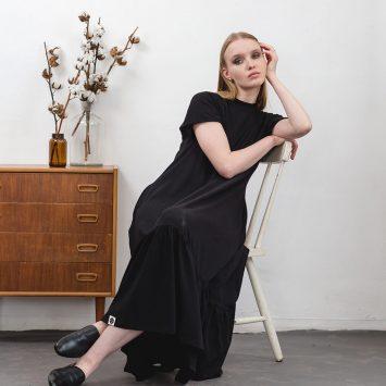 שמלת מקסי נף-נף | שחור