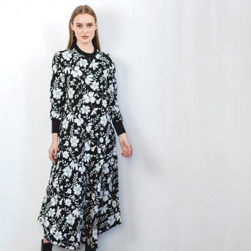 שמלת מקסי פרחים שחור לבן