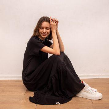 שמלת מקסי נף-נף שחור