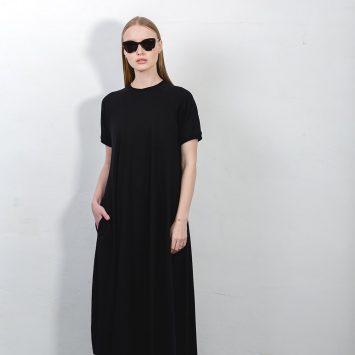שמלת טי שירט מקסי | שחור | 🔴 PRE ORDER