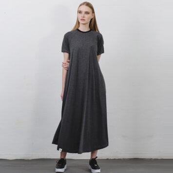 שמלת טי שירט מקסי | אפור