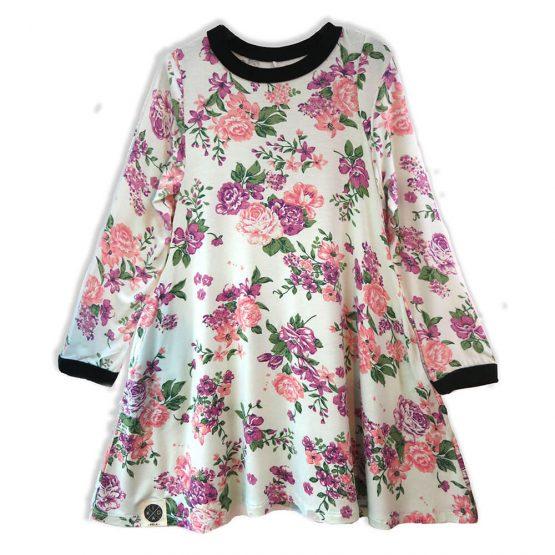 שמלת A פרחונית מנטה | שרוול ארוך