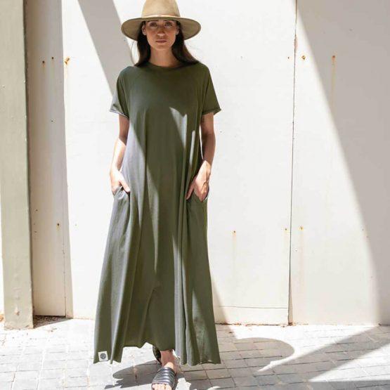 שמלת סווינג 100% כותנה   זית