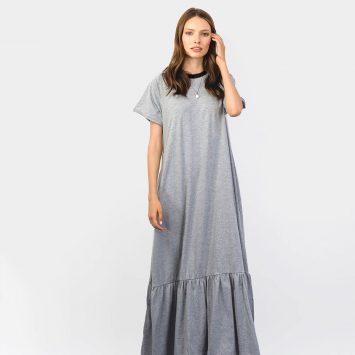 שמלת מקסי נף-נף | אפור מלאנז'