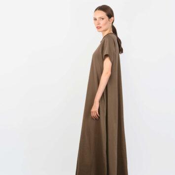 שמלת סווינג 100% כותנה | מוקה