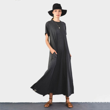 שמלת סווינג 100% כותנה | אפור קצר
