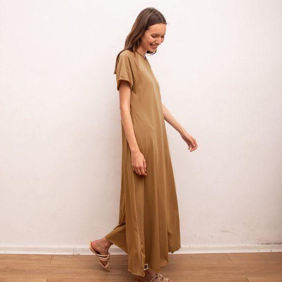 שמלת סווינג 100% כותנה   קאמל