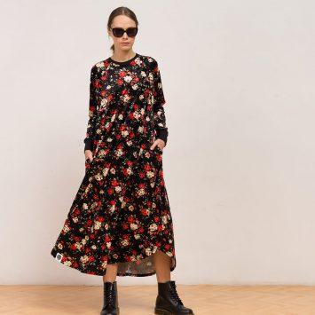 שמלת קטיפה פרחונית שחורה