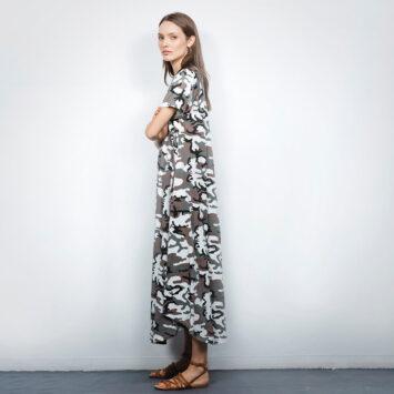 שמלת מקסי קמופלאז׳ לבן