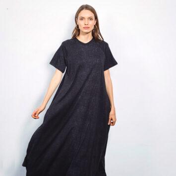 שמלת סטון וואש שחורה