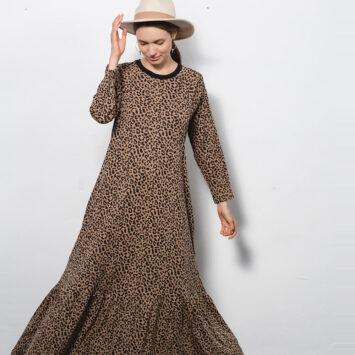 שמלת מקסי נף-נף | מנומרת